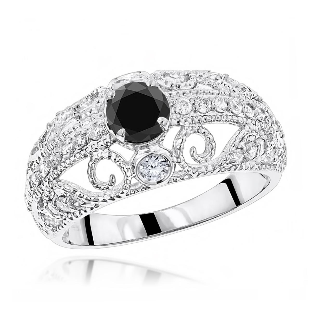 Antique White Black Diamond Engagement Ring with Filigree 1.2ct 14K Gold
