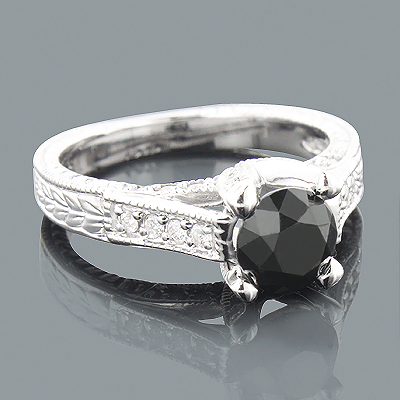 2ct Antinque White and Black Diamond Engagement Ring 14K Gold