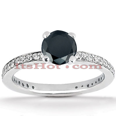 Thin Black Diamond Engagement Ring 14K Gold 0.94ct
