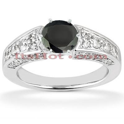 Thin Black Diamond Engagement Ring 14K Gold 1.42ct