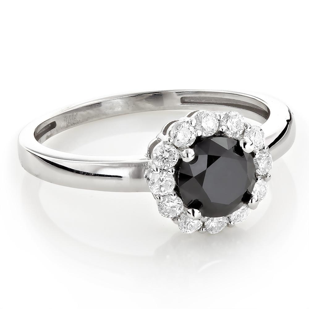 White and Black Diamond Engagement Ring Halo Design 1 1/2ct 14K Gold
