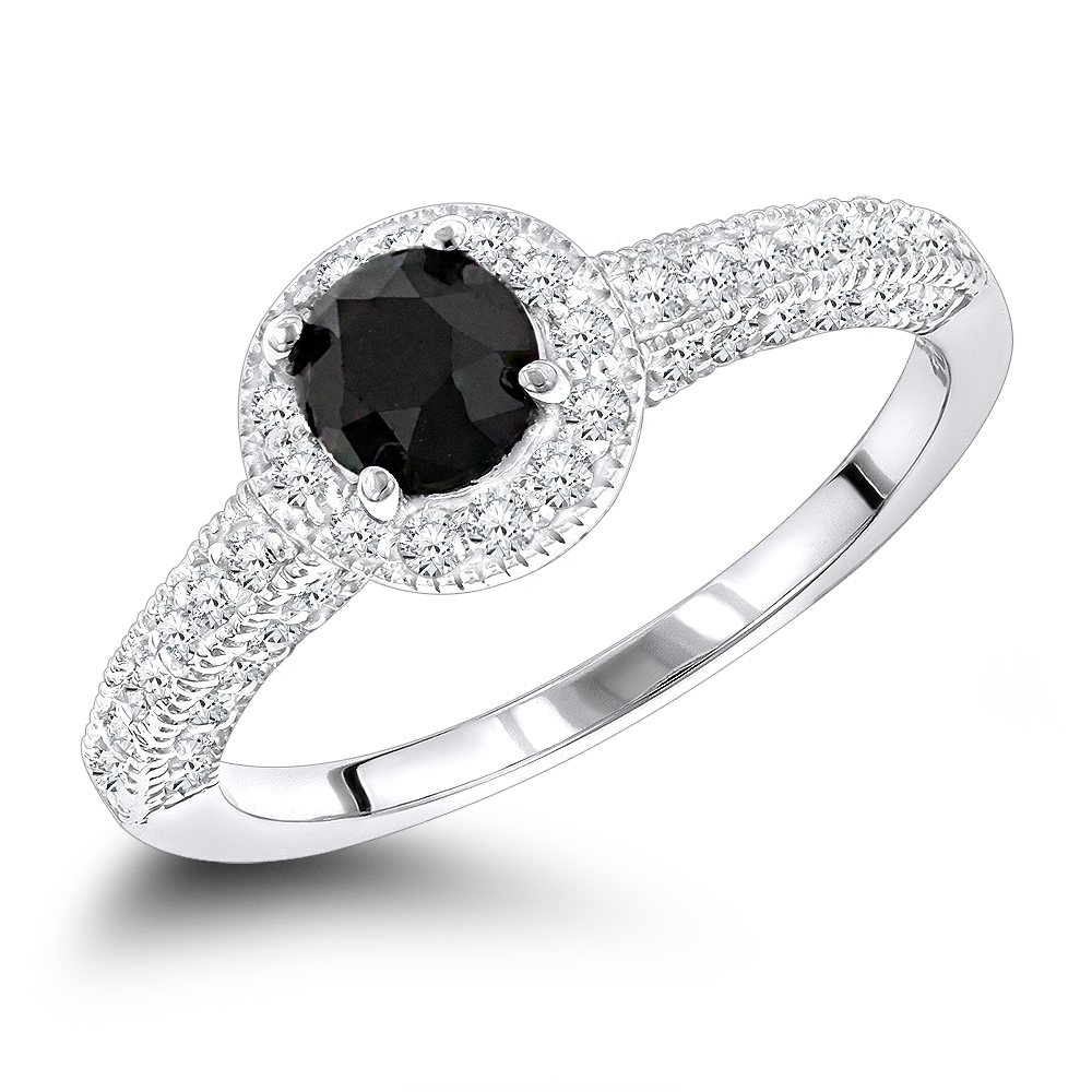 Thin Black Diamond Engagement Rings: 14K Gold Ring 1.03ct