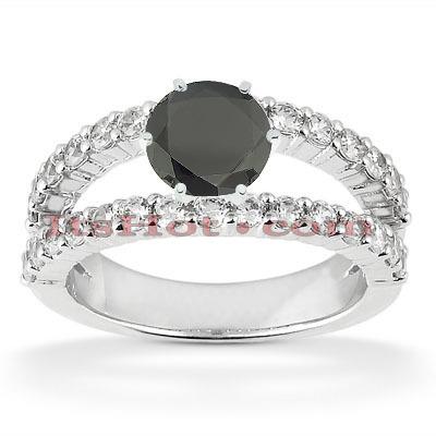 Black Diamond Engagement Rings: 14K Gold Ring 1.50ct
