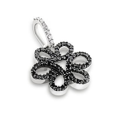 Black Diamond Flower Pendant 0.31ct 14K Gold