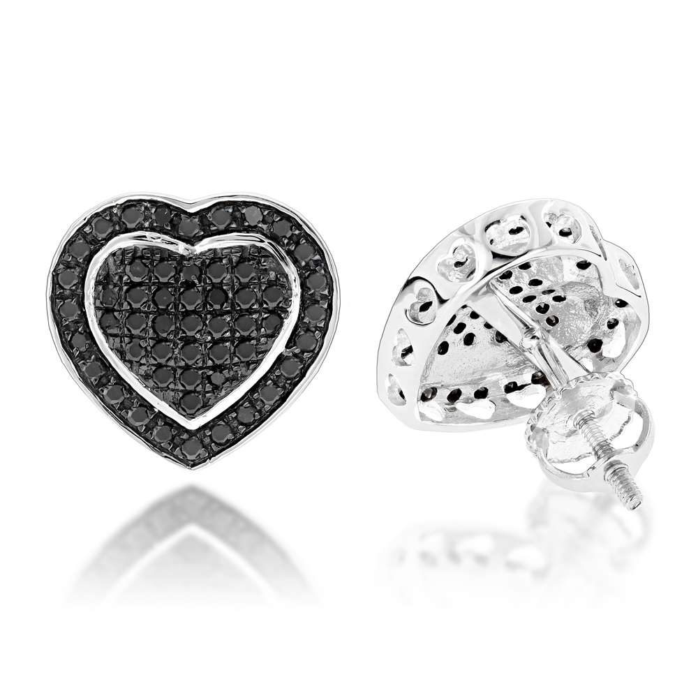 Black Diamond Heart Earrings Studs 0.5ct 10K Gold