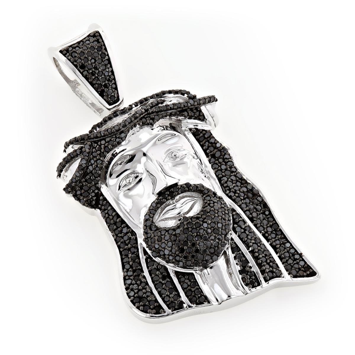 Black Diamond Jesus Head Face Pendant Mini 0.75ct 10K Gold