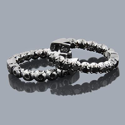 Black Diamond Jewelry: 14K Diamond Hoop Earrings 1.74ct