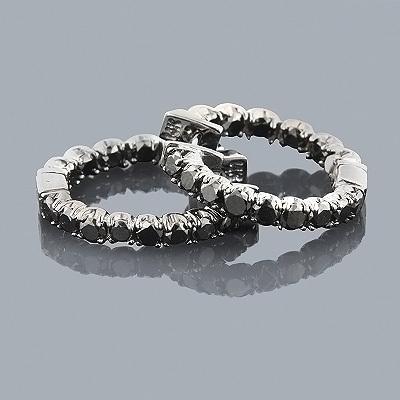 Black Diamond Jewelry: 14K Diamond Hoop Earrings 1.93ct