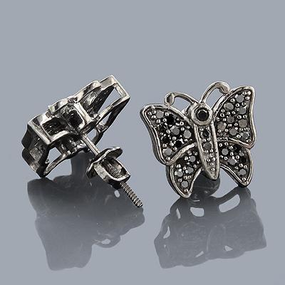 Black Diamond Jewelry: Butterfly Diamond Earrings 10K