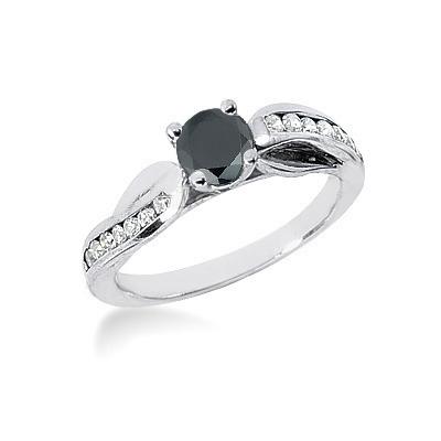 Thin Black Diamond Jewelry: Engagement Ring 0.80ct 14K Gold