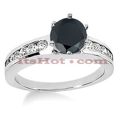 Thin Black Diamond Jewelry: Engagement Ring 0.94ct 14K Gold