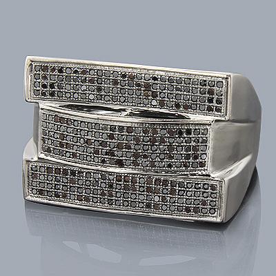 Black Diamond Jewelry: Mens Ring 10K 0.73ct