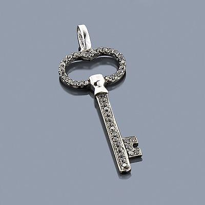 Black Diamond Key Pendant 0.38ct 14K Gold