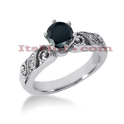 Thin Black Diamond Ring: Unique Engagement Jewelry 0.67ct 14K