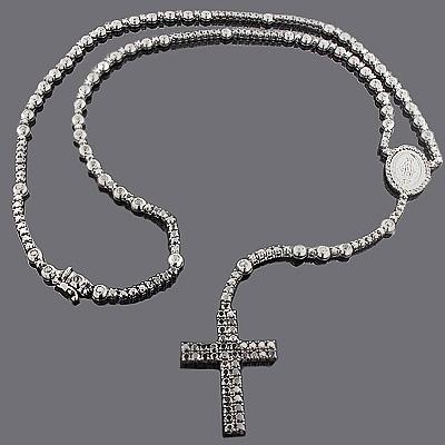 Black Diamond Rosary Necklace Chain 31.55ct