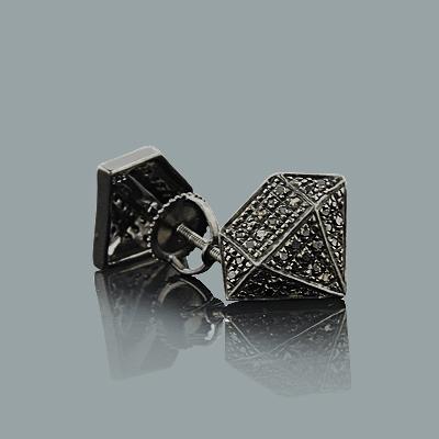 Black Diamond Stud Earrings 0.40ct Sterling Silver Black PVD