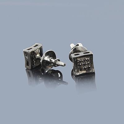 Black Diamond Stud Earrings .10ct Sterling Silver
