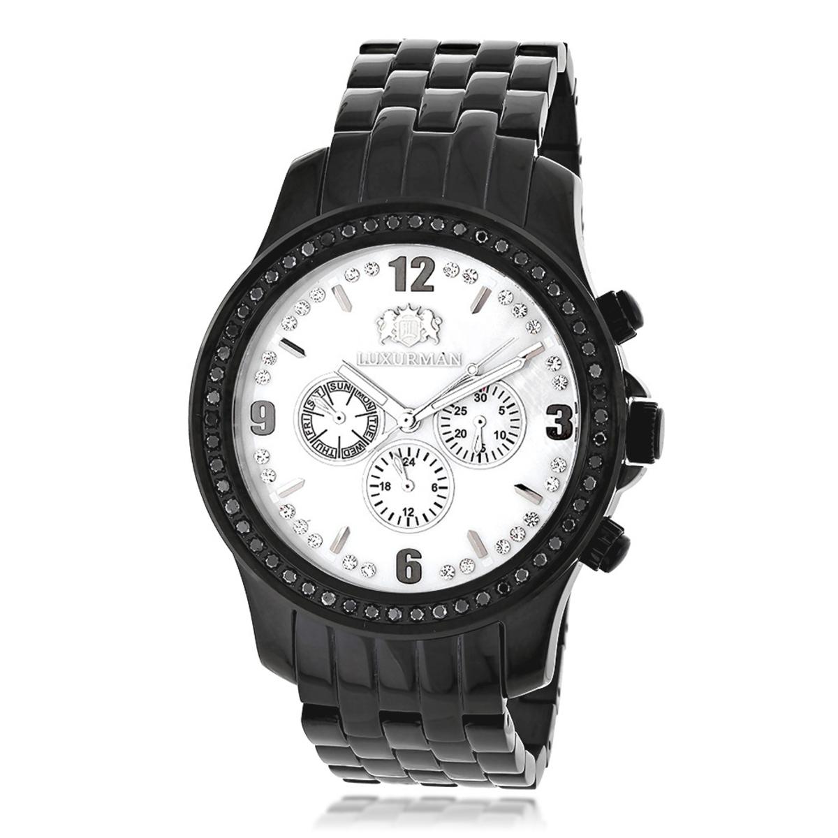 Black Diamond Watch by Luxurman Mens Watches 2.25ct
