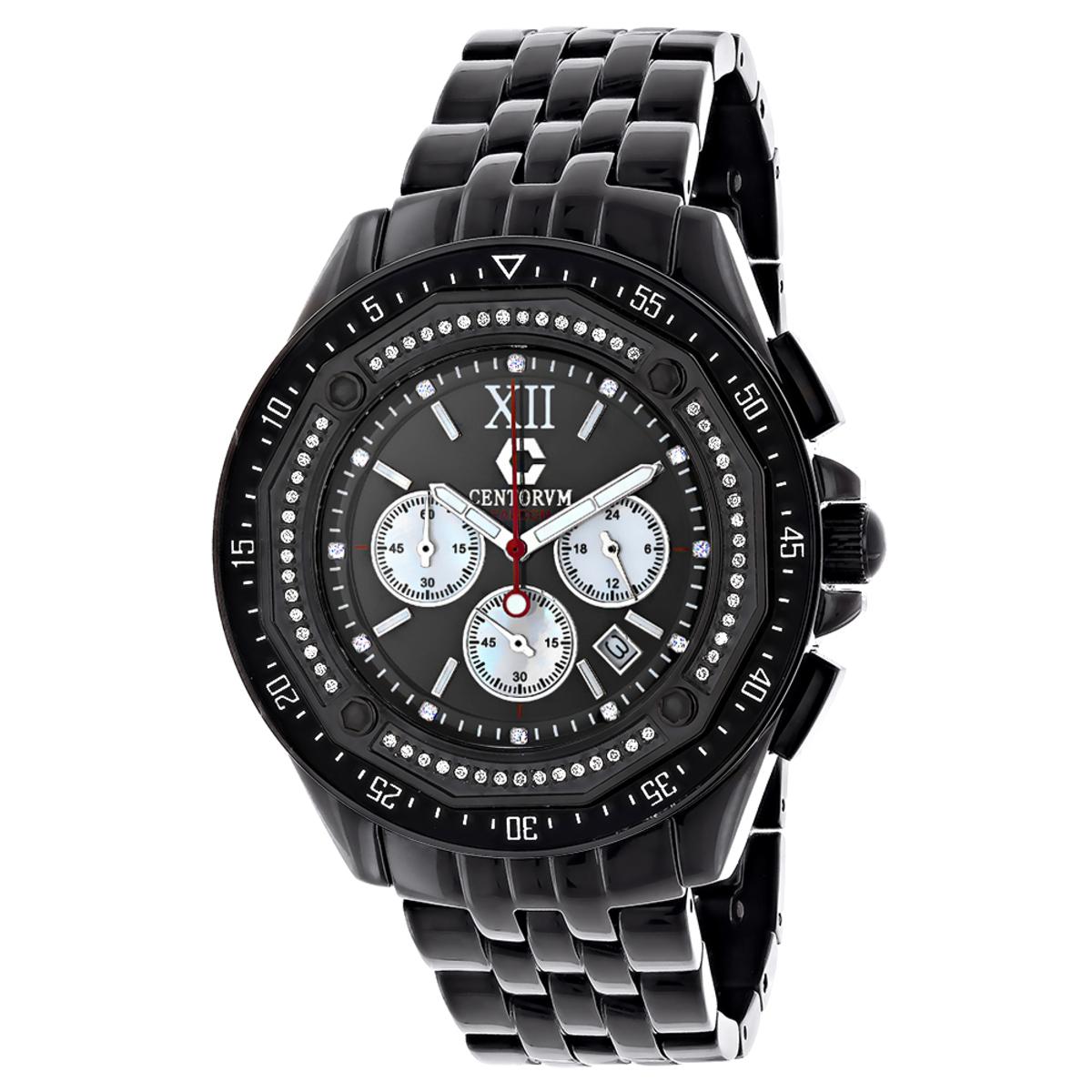 Black Diamond Watch Chronograph 0.55ct Centorum Men's Watch
