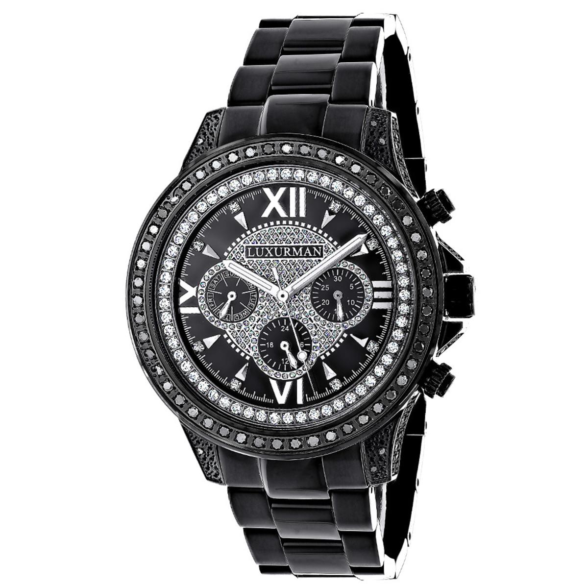 Black Diamond Watches: Luxurman Mens Diamond Watch Liberty