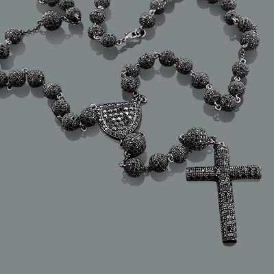 Black Disco Bead Rosary Necklace: Hip Hop Jewelry