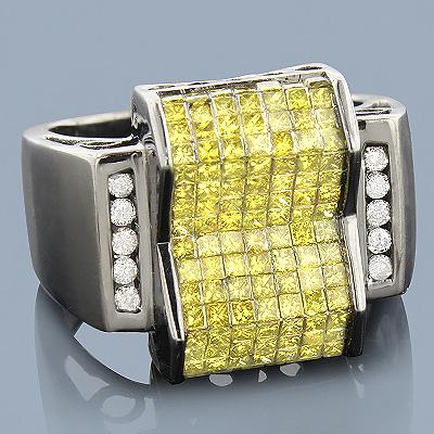 Black Gold Rings: 14K Yellow Diamond Ring 2.75ct