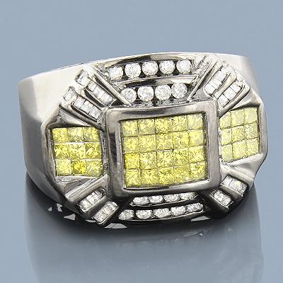 Black Gold Rings: 14K Yellow Diamond Ring 2ct