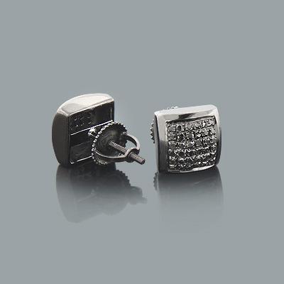 Black on Black Diamond Stud Earrings 0.55ct Sterling Silver