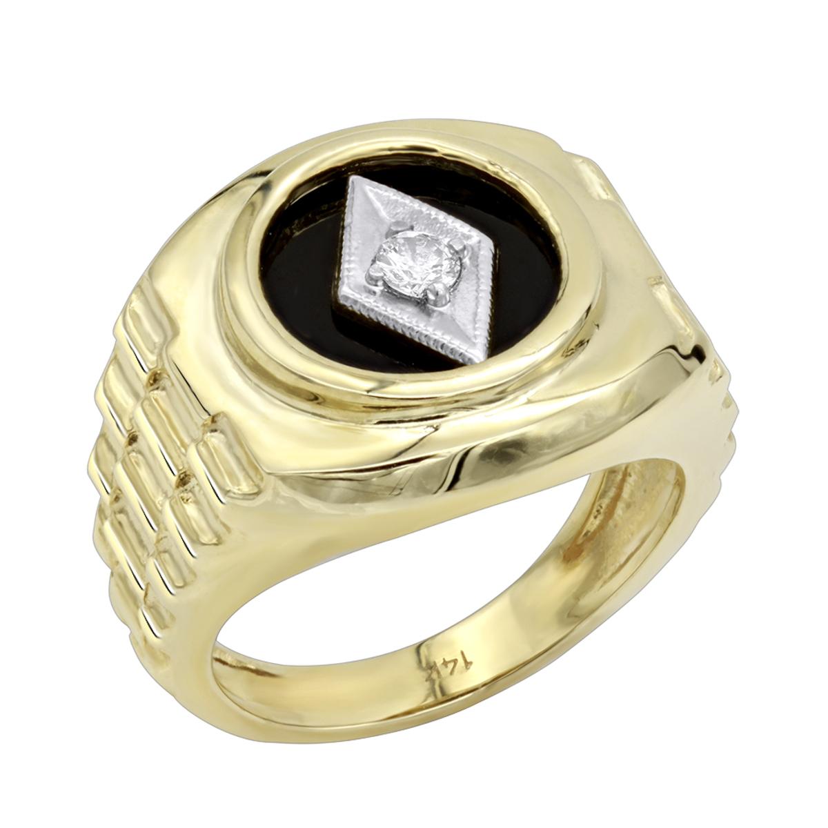 Black Onyx and Diamond Rings 14K Gold Diamond Ring 0.10