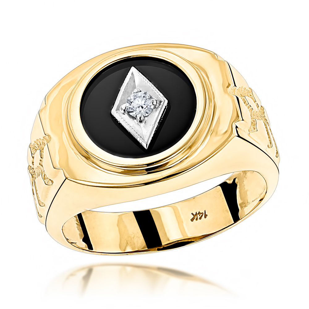 Mens White Gold And Diamond Onyx Ring