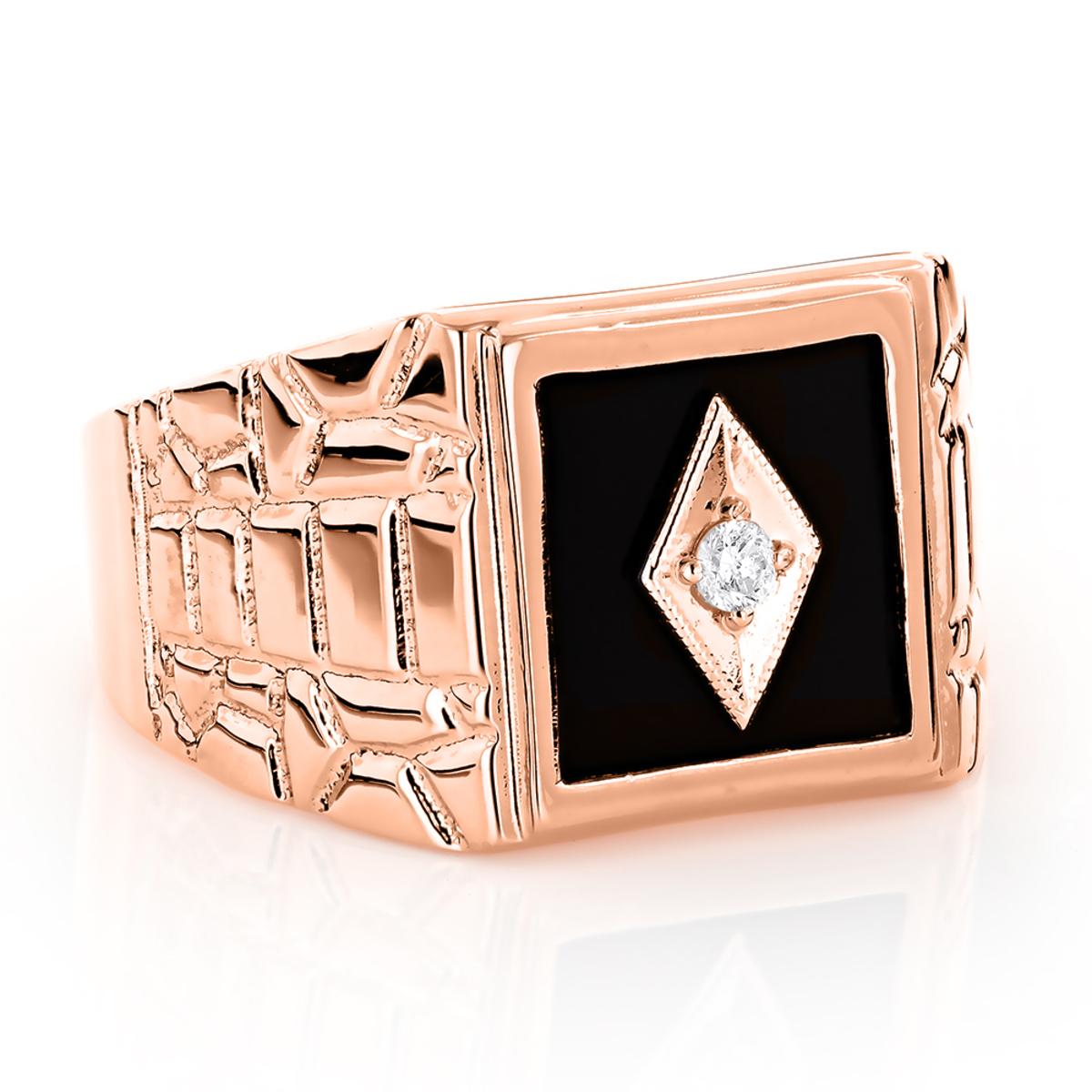 Black Onyx and Diamond Rings 14K Gold Mens Ring 0.10ct
