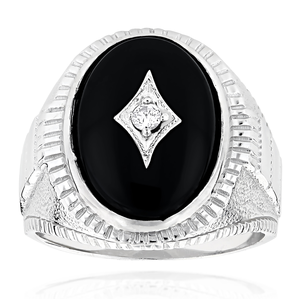 Black Onyx and Diamond Rings 14K Gold Mens Ring 0.10ct