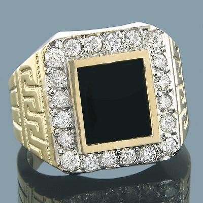 Black Onyx and Diamond Rings 14K Gold Mens Ring 1.50ct