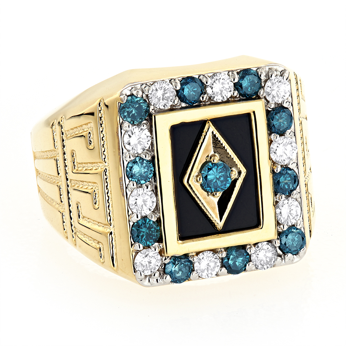 Black Onyx and Diamond Rings 14K Gold Mens White Blue Diamond Ring 1.68ct