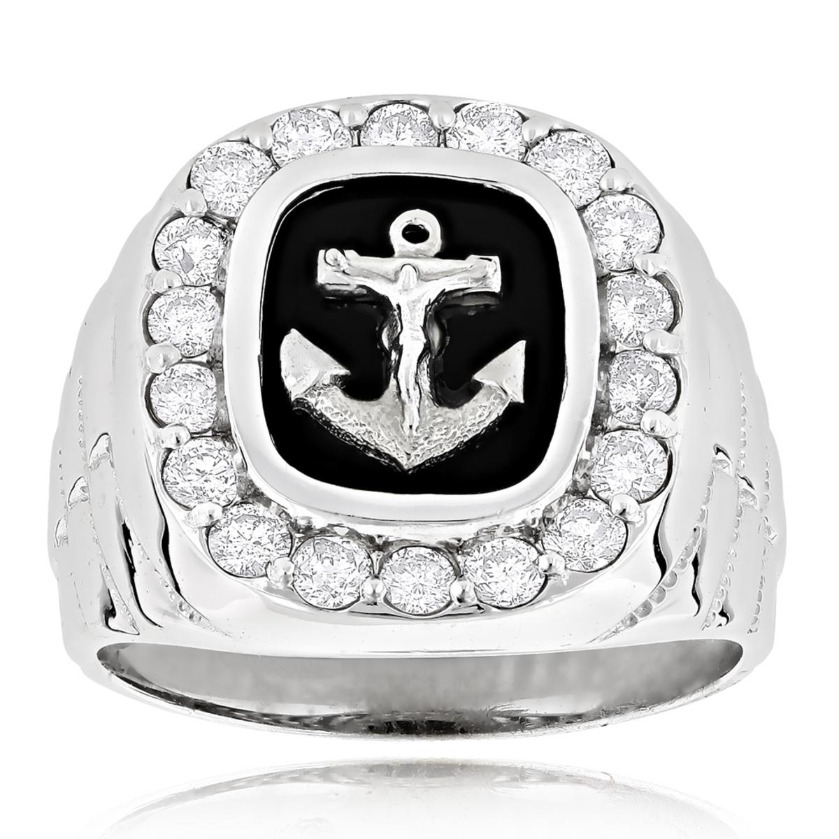 Black Onyx Diamond Rings 14K Gold Anchor Ring 1.50ct
