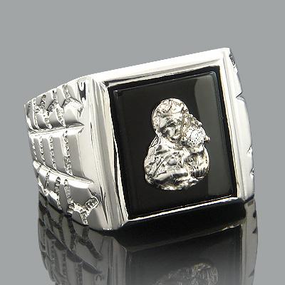 Black Onyx Diamond Rings 14K Gold Virgin Mary Ring 0.08