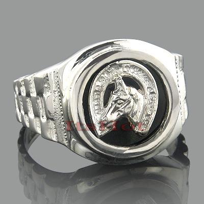 Black Onyx Rings 14K White Gold Horseshoe Ring
