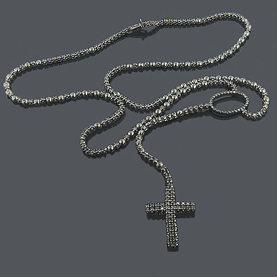 Black Rhodium 10K Black Diamond Rosary Chain Necklace