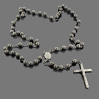Black Silver Rosary Bead Necklace