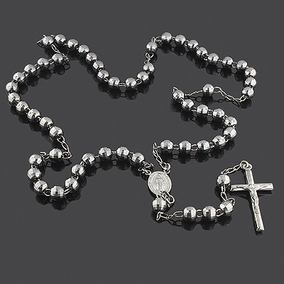 Black Sterling Silver Rosary Beads - Diamond Cut