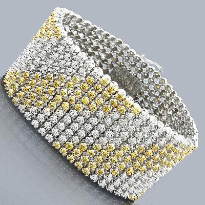 Bling Bling Jewelry White Yellow Diamond Bracelet 16.02