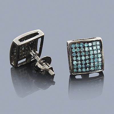 Blue Diamond Earrings 0.75ct Sterling Silver