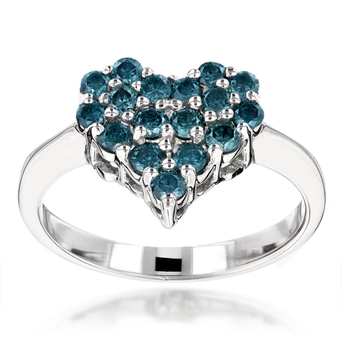 Blue Diamond Heart Ring 0.68ct 14K Gold