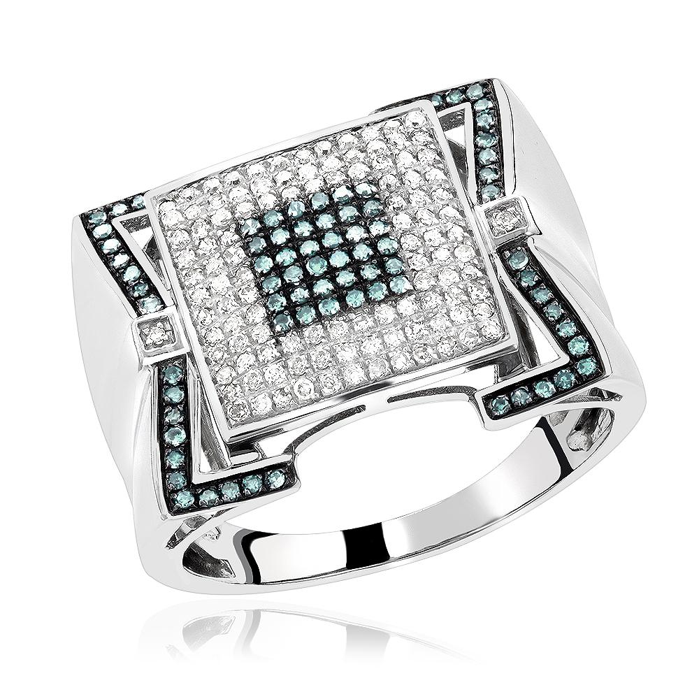 Blue Diamond Ring 0.91ct 10K Mens