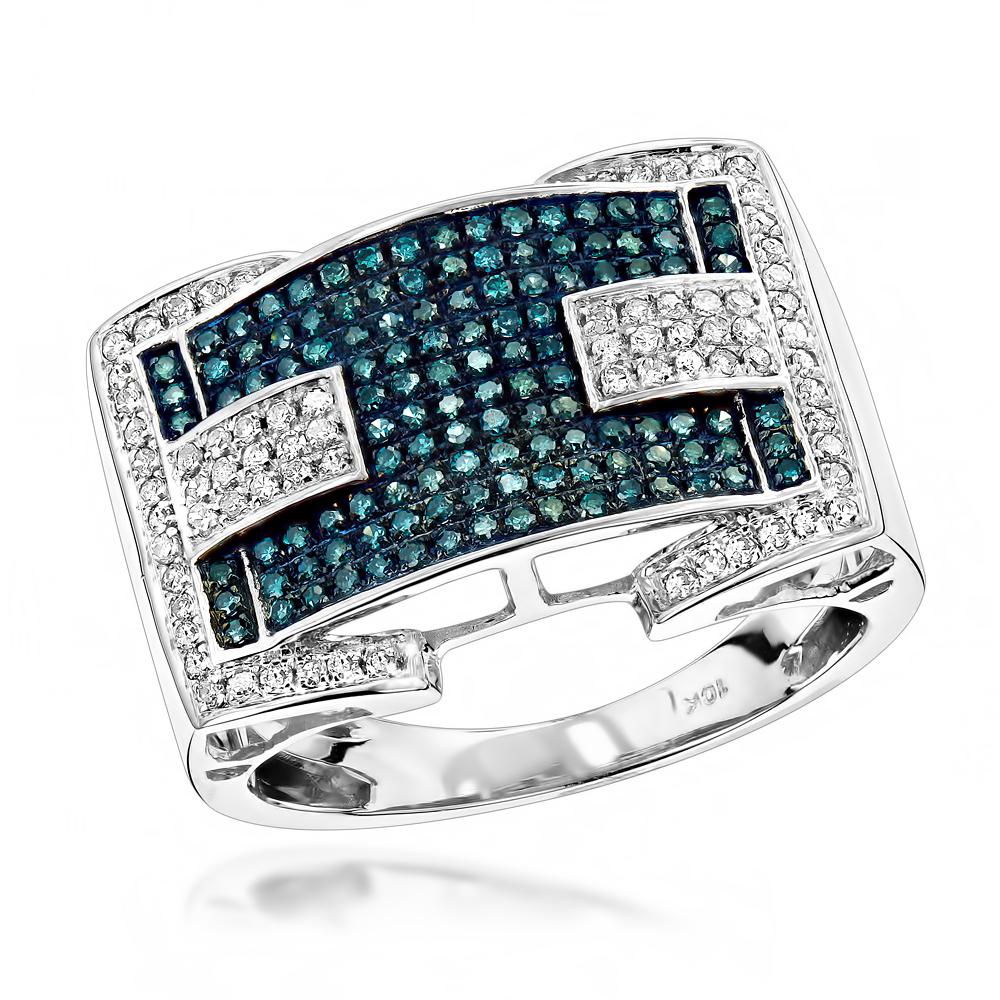 Blue Diamond Rings: 10K Gold Ring .9ct