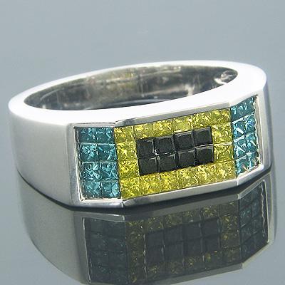 Blue Diamond Rings 14K Fancy Color Diamond Ring 1.88