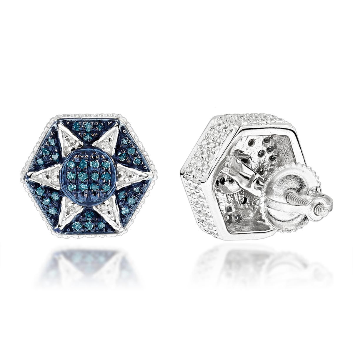 Blue Diamond Star Earrings 0.3ct Sterling Silver