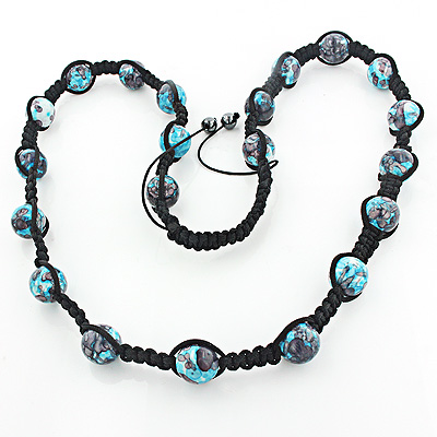 Blue Disco Ball Necklace with Sea Jasper Beads