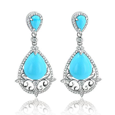 Blue Turquoise Gemstone Dangle Diamond Earrings 14K Gold