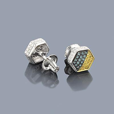 Blue Yellow Diamond Earrings 0.30ct Silver